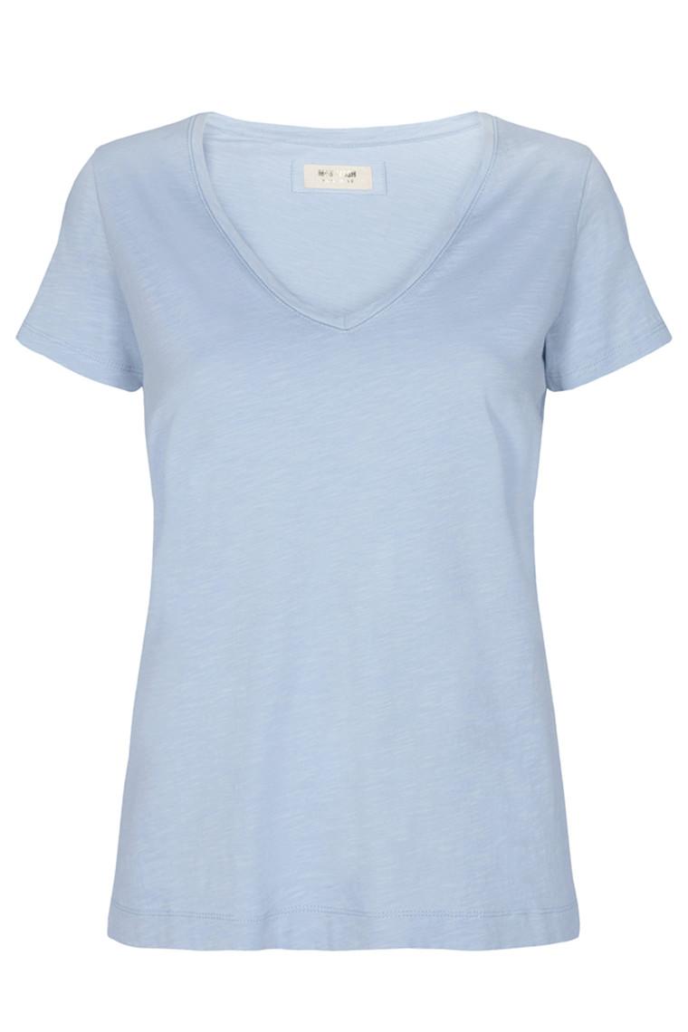 MOS MOSH Arden Organic V-neck Tee 131870 Celestial blue
