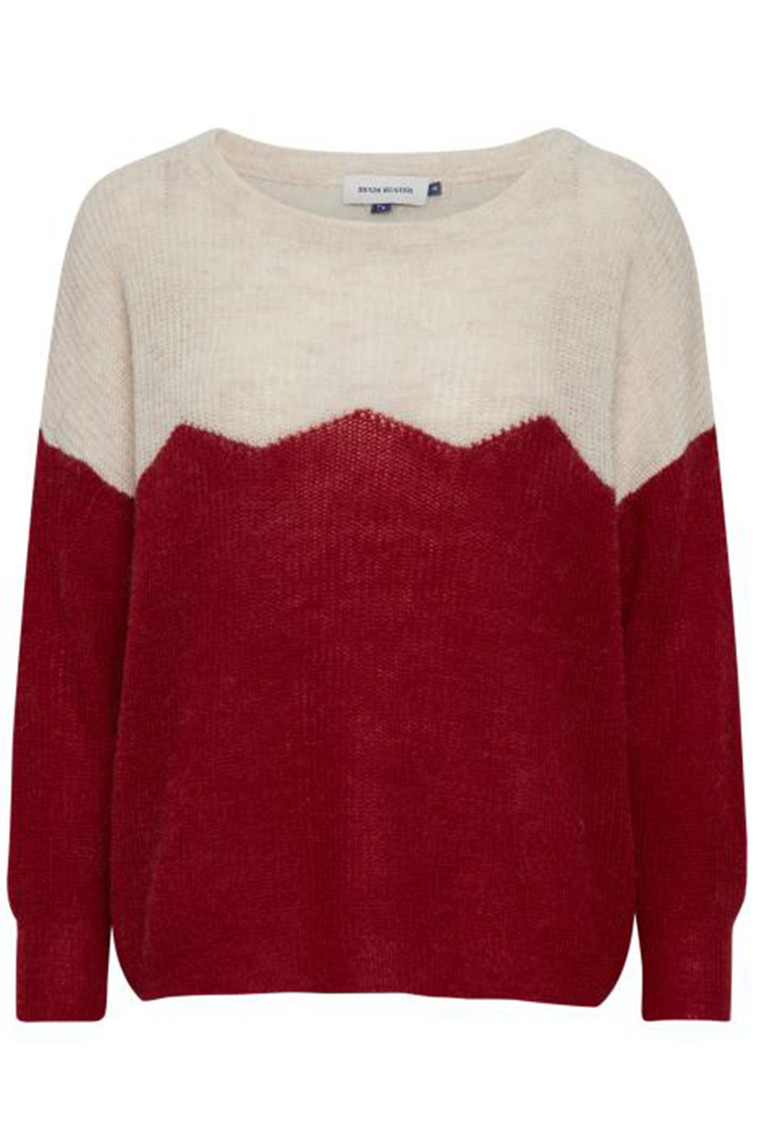 DENIM HUNTER 10702674 Indianna 2 Colour Pullover Pompeian Red