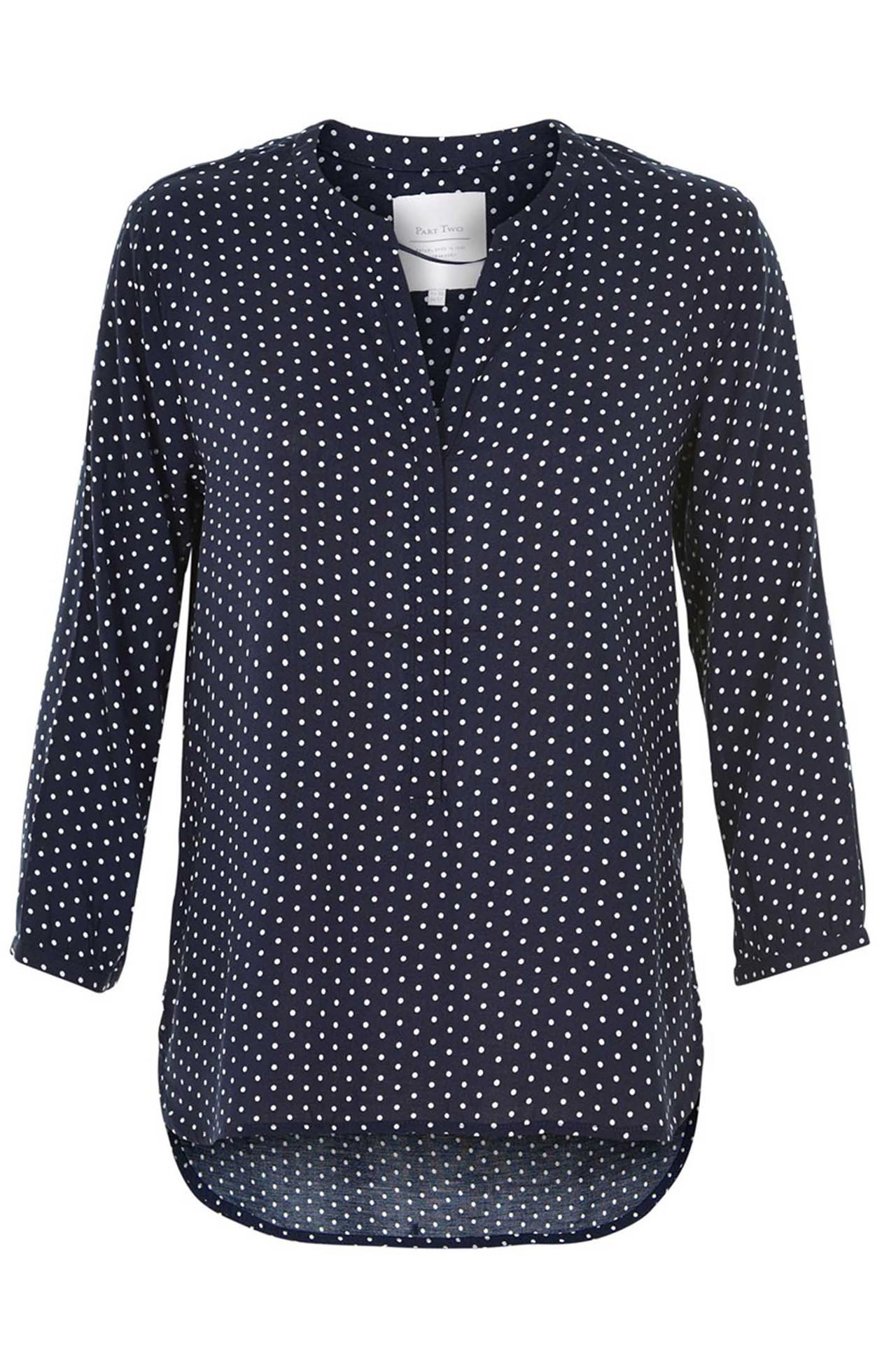 07fb2163 CHICHI BL 30302218 NAVY Bluse fra Part Two - Køb bluse online her
