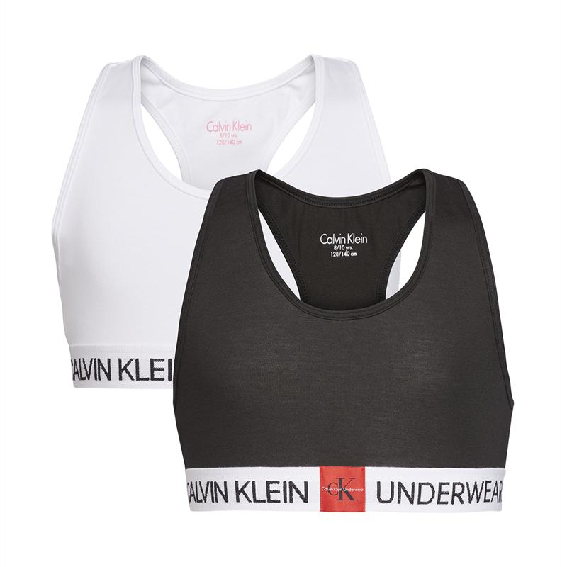 Image of   CALVIN KLEIN 2 PAK BRALETTE TOPPE 800319 0LB (White/Black, 12/14 ÅR)
