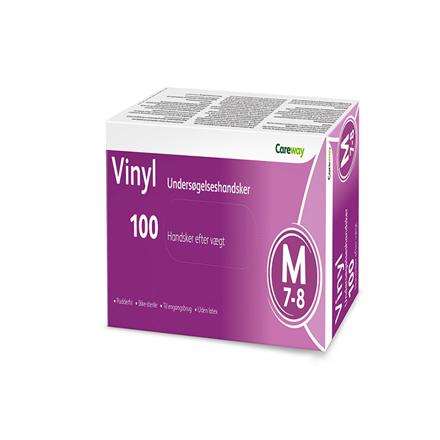Careway Vinyl handsker str. M u/pudder