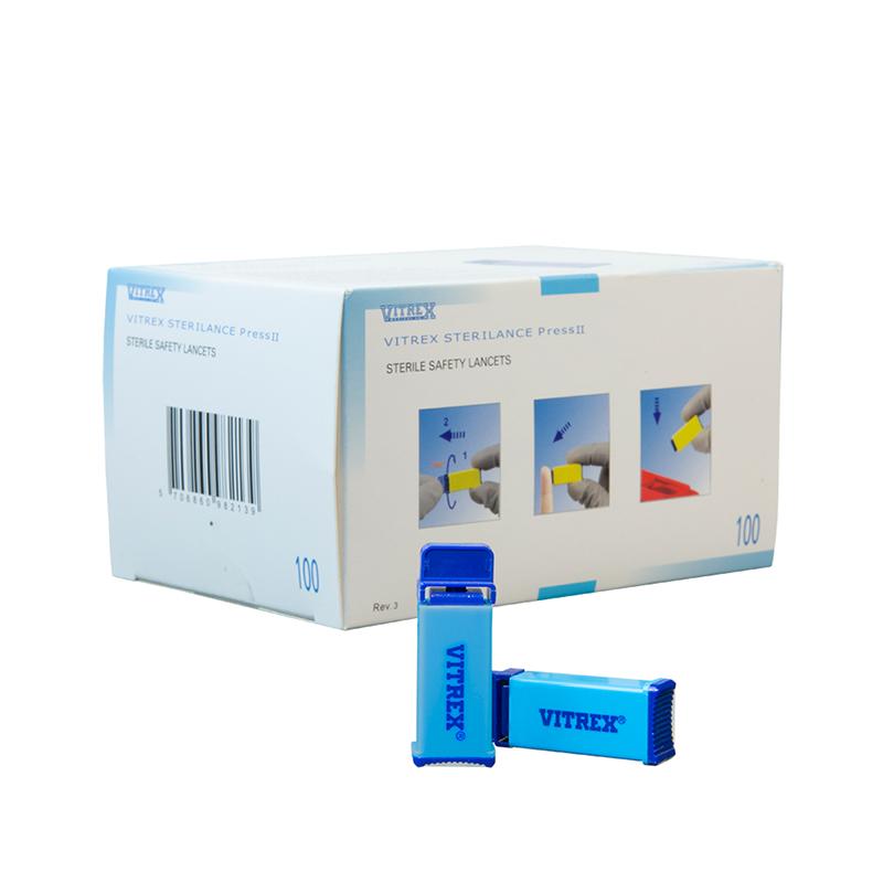 Vitrex® Sterilance Press II turkis, 30G 1,8 mm, 100 stk.