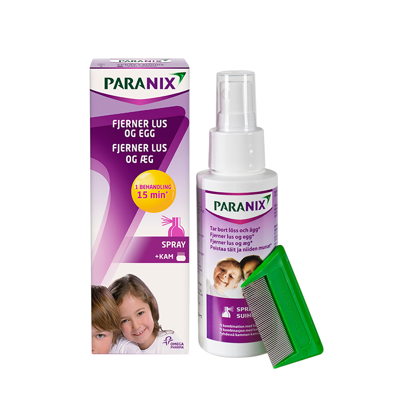 Paranix Spray m/lusekam, 100 ml.