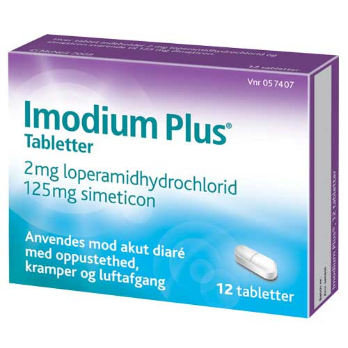 Imodium Plus 2mg + 125mg, 12 stk