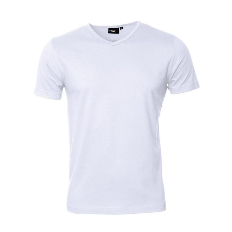 Basis T-shirt, V-hals-Hvid