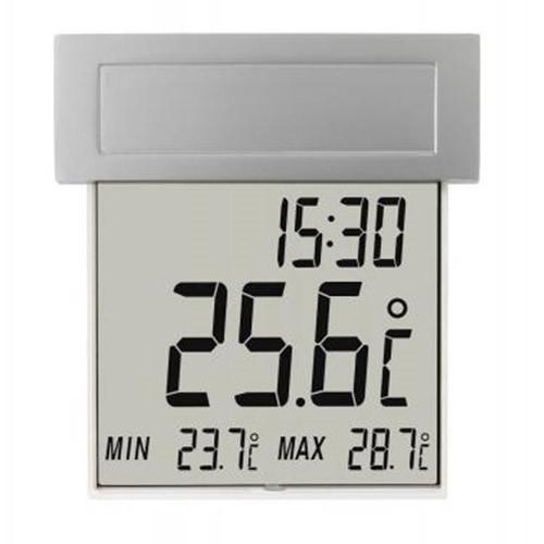 Udendørs termometer m. ur og solceller