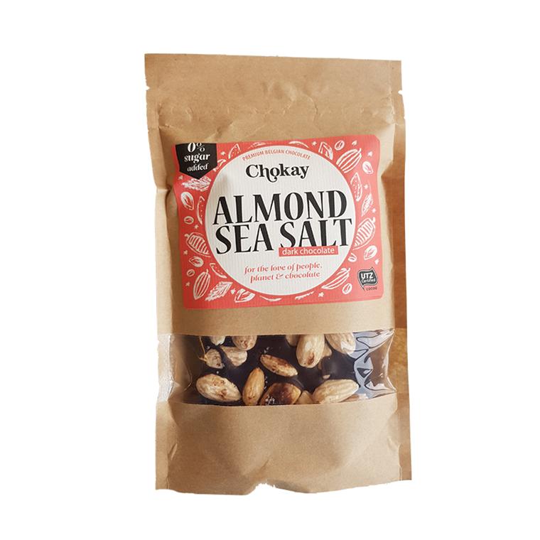 Chokay chokolade m/mandler og havsalt uden tilsat sukker,  100 g