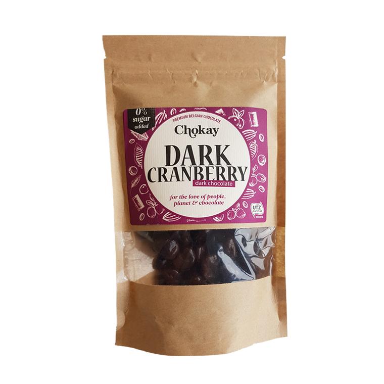 Chokay Chokoladeovertrukket Tranebær uden tilsat sukker, 110 g.