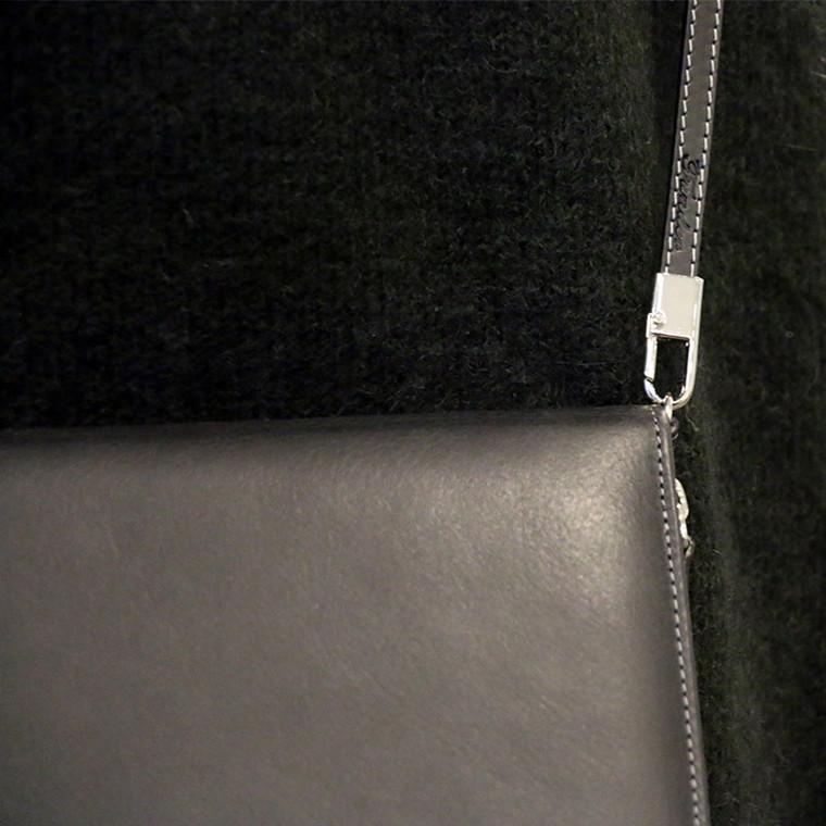 Funder Skulderrem - sort (ægte læder)