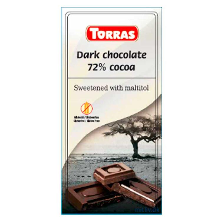 Mørk sukkerfri chokolade, 75 g.