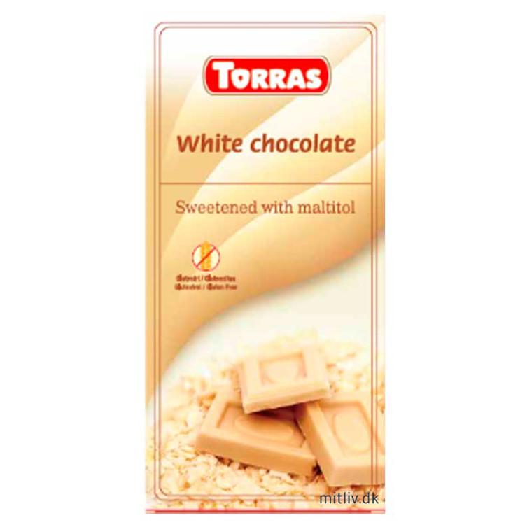Hvid sukkerfri chokolade, 75 g.