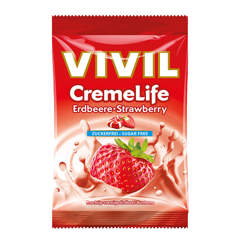 Vivil Creme Life Strawberry, sukkerfri, 110g