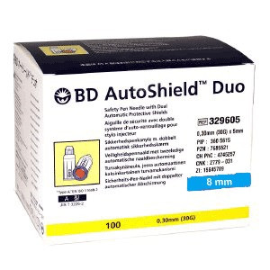 BD AutoShield sikkerhedspenkanyle 0,30 x 8 mm 30G