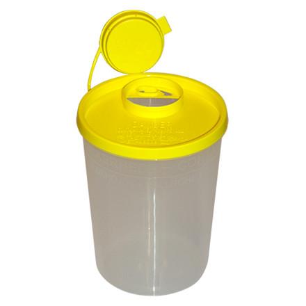 Kanylebøtte - 2,0 l. klar med gul låg