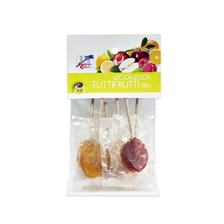 Økologiske Tuttifrutti slikkepinde uden tilsat sukker, 6 stk