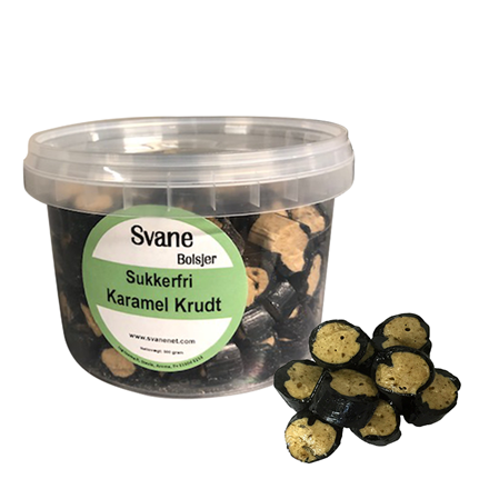 Svanenet sukkerfri bolcher Karamel krudt m/stevia
