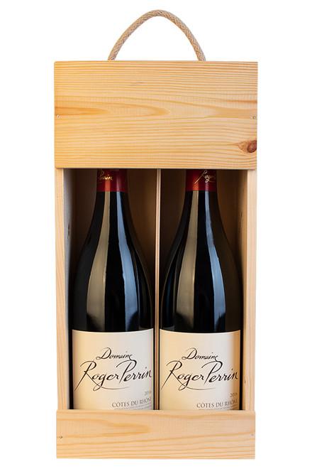 2 flasker Côtes du Rhône Fruité i trækasse
