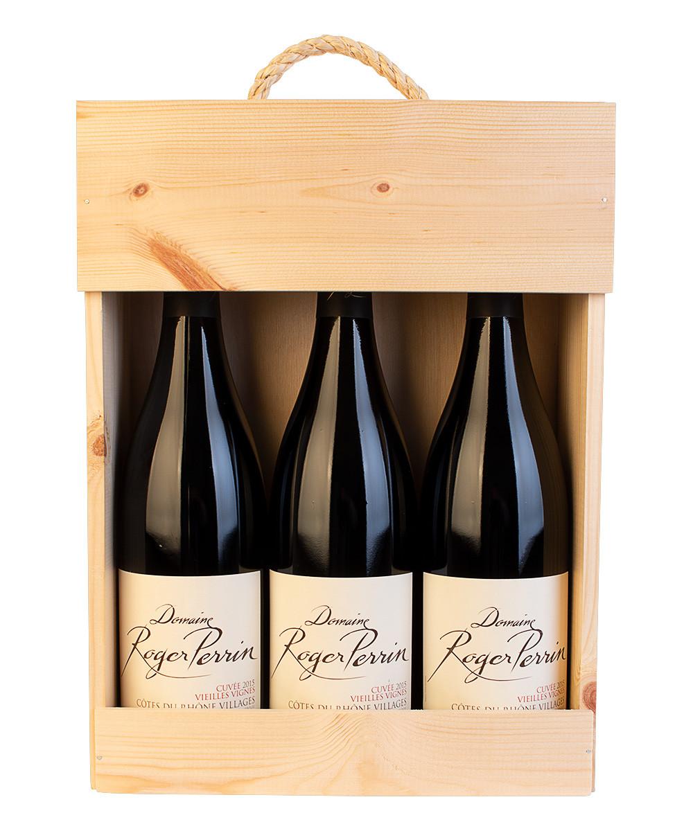 3 flasker Côtes du Rhône Villages Vieilles Vignes i trækasse