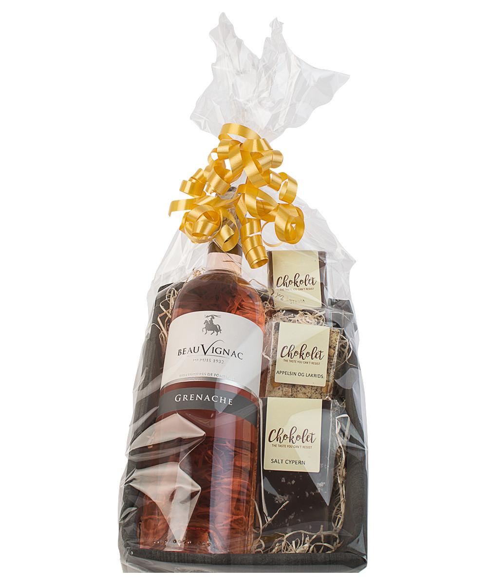 Gaveæske med Sommerens Rosé + 3 luksuschokolader