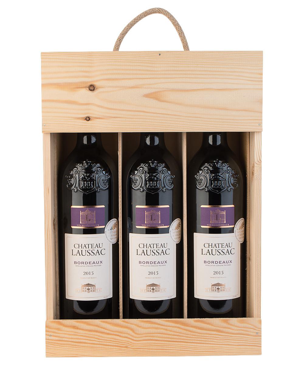 3 fl. Bordeaux i trækasse