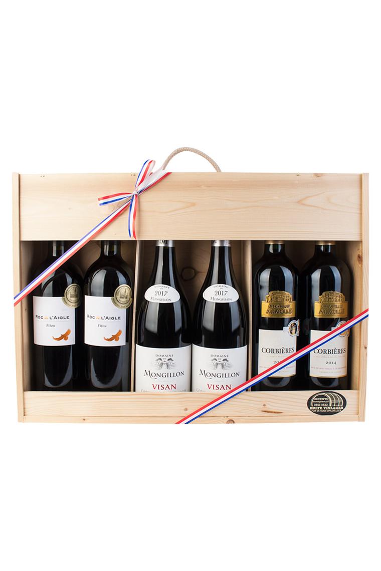 6 fl. rødvin fra Fitou, Rhône & Corbiéres