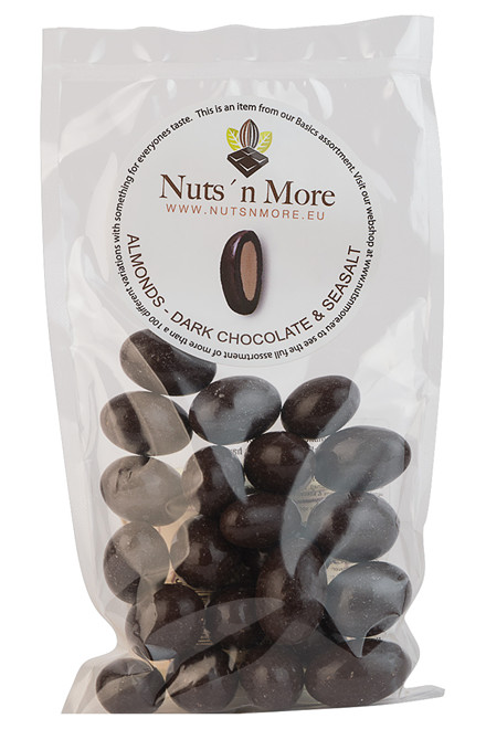 Mandler overtrukket med mørk chokolade 52% og havsalt