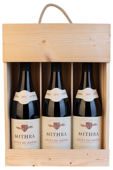 3 flasker Mithra i trækasse