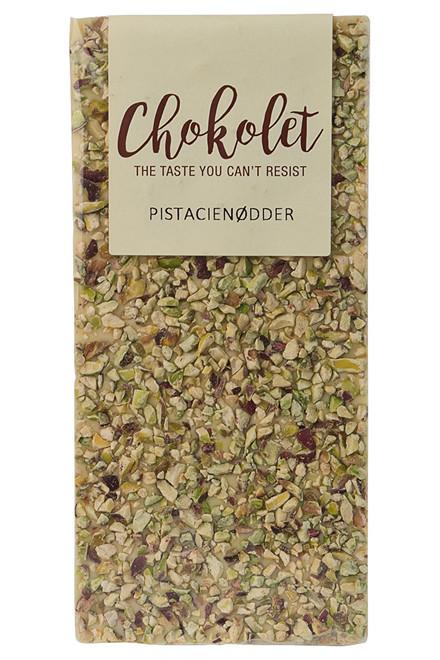 Hvid pladechokolade med pistacienødder