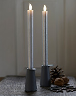 Thea 2 Dinner Candles 25 cm silver