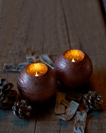 Mona 2 LED ball candles 8 cm copper