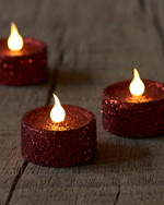 Lone 6-pack red glitter Tea lights