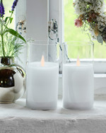 Ivy 2 white glass candles Ø:7,5 H:15 cm moving flame