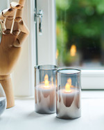 Ivy 2 mini grey Glass Candles Ø:5 H:9 cm moving flame