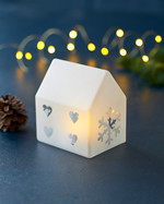 Santa House H11,5cm, Frosted