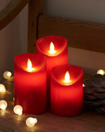 Sara red 3-pack Ø:7,5 H:10-12.5-15cm moveable flame