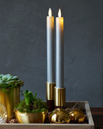 Sara Tall 2-pack Dinner Candles Silver Ø:2 H:25cm movable flame