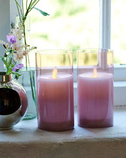 Ivy 2 rose candles Ø:7,5 H:15 cm moving flame