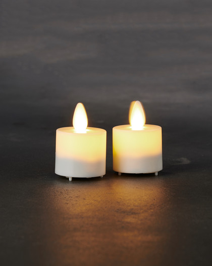 Sara Exclusive mini 2 pcs. Ø:4,2 H:4,5cm white movable flame