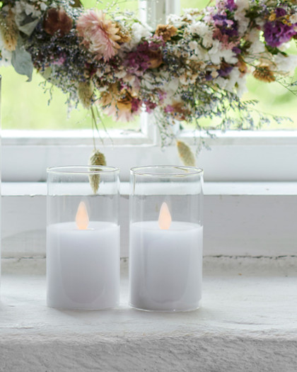 Ivy 2 mini white Glass Candles Ø:5 H:9 cm moving flame