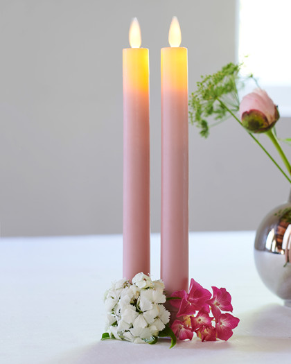 Sara Tall 2-pack Dinner Candles Rose Ø:2 H:25cm movable flame