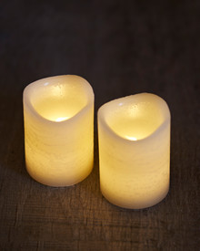 Tenna 2 LED candles H:6,5 cm almond