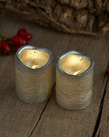 Tenna 2 LED candles H:6,5 cm silver