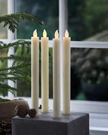 Thea 2 Dinner Candles 25 cm almond