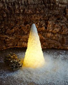 Snow LED cone Ø:7,5 H:15 cm white