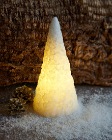 Snow LED cone Ø:8,5 H:18 cm white