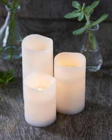 Tenna 3 LED candles white D:7 cm H:10-12,5-15 cm