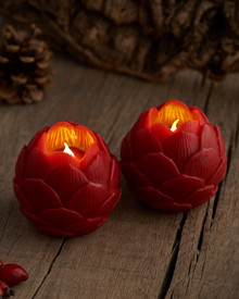Helene LED 2 Lotus flowers Diam.7 cm scarlet