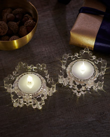 Laura 2-pcs tealights clear Glass Snowflakes