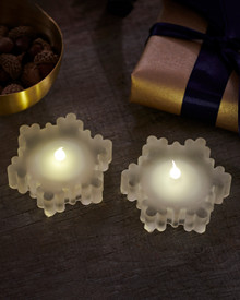 Laura 2-pcs tealights frosted Glass Snowflakes