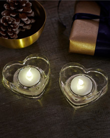 Lily 2-pcs tealights clear Glass Heart
